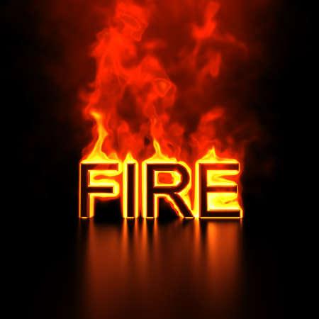 threat: Burning word  Fire  3d render