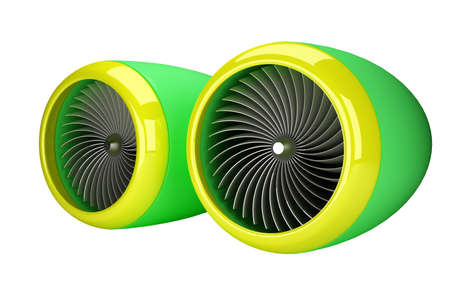 Green and yellow jet engines isolated on white background 3d render photo