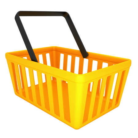 empty basket: Yellow shopping basket isolated on white background 3d render