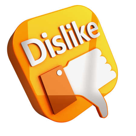 Social media and network concept  orange dislike button isolated on white background Stock Photo - 14668237