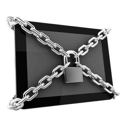 Data protection concept  tablet PC with chain and lock isolated on white background 3d render