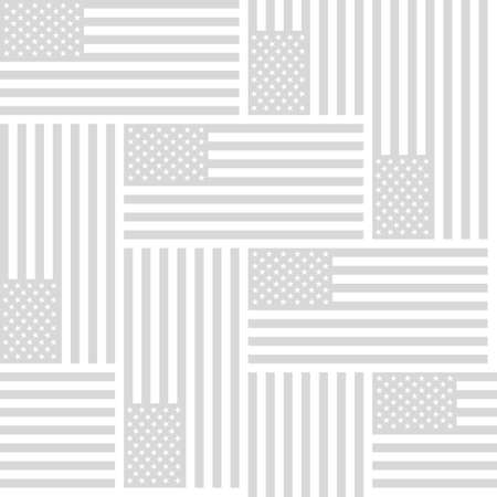 land development: Flag of the United States of America, monochrome gray repeating seamless vector background pattern