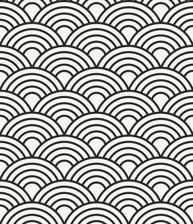 waves pattern: Simple abstract sea waves monochrome background - vector seamless pattern Illustration