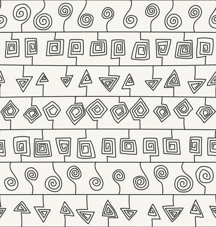 stroked: Abstract hand drawn ornamental design with structure of repeating stroked elements  - vector seamless pattern