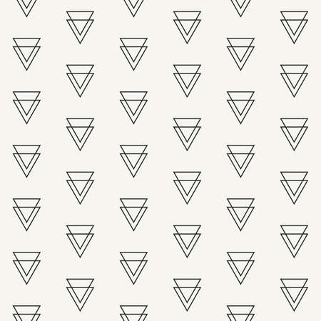 Modern stylish outlined geometric texture with structure of repeated double triangles - vector seamless pattern
