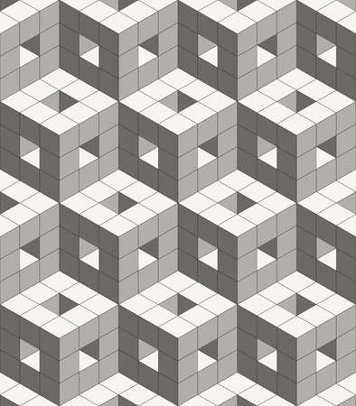 Abstract modern volumetric decorative design background with structure of repeating cubes - vector seamless pattern Ilustração