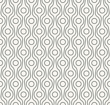 Stylish outlined monochrome decorative fabric texture with structure of repeating circles and lines - vector seamless pattern