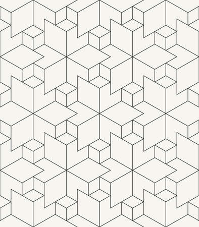Modern stylish outlined geometric background with structure of repeating rhombuses - vector seamless pattern