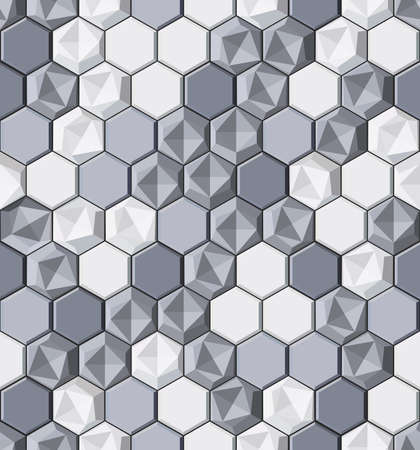 Modern stylish decorative monochrome texture with realistic lightning surface made of repeating hexagonal tiles - vector seamless pattern