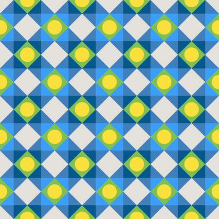 Simple colorful fabric texture with structure of repeating polka dots and diagonal lines - vector seamless pattern Ilustração