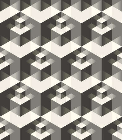 mirrored: Vector seamless pattern. Modern stylish geometric texture with volume effect - array of cubes of different sizes with mirrored faces Illustration