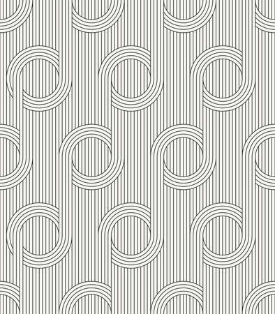 Vector seamless pattern. Modern stylish outlined fabric texture with structure of repeating vertical lines and circles. Ilustração