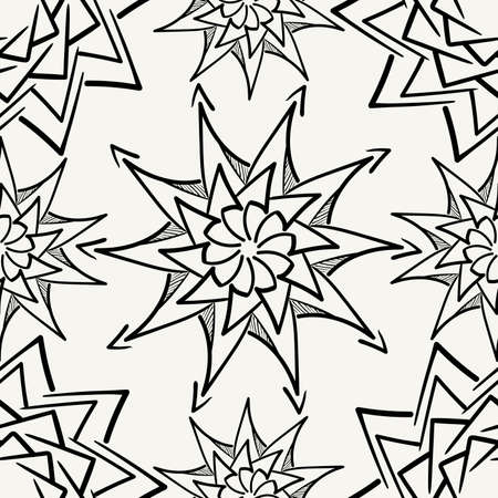 Vector seamless pattern. Modern stylish monochrome hand drawn fabric texture with structure of repeating floral elements. Ilustração