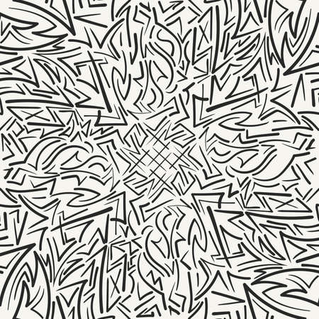 Vector seamless pattern. Modern stylish hand drawn chaotic texture with structure of irregular brush strokes.