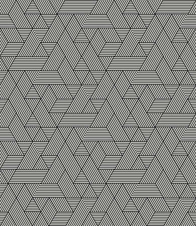 Modern stylish geometric texture with irregular structure of striped hexagons - vector seamless pattern Ilustração