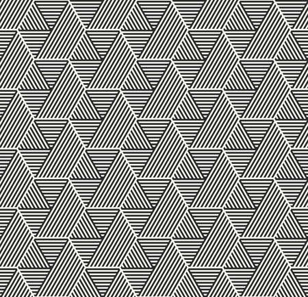 Vector seamless pattern. Modern stylish geometric texture with structure of repeating striped hexagons with volume surface effect. Ilustração