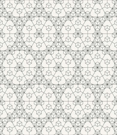 Vector seamless pattern. Modern stylish outlined geometric texture with repeating structure of hexagons and triangles.