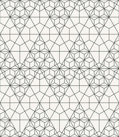 tiles floor: Modern stylish outlined geometric texture with structure of repeating triangles and hexagons - vector seamless pattern