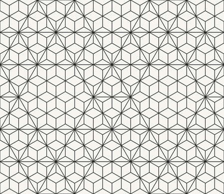 Vector seamless pattern. Modern stylish outlined geometric texture. Technological network background with repeating hexagons and triangles.