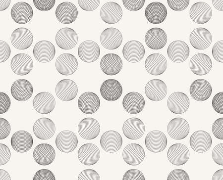 Modern stylish outlined decorative geometric texture with structure of repeating spheres - vector seamless pattern Ilustração
