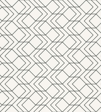 Modern stylish outlined geometric texture with simple structure of repeating squares and arrows - vector seamless pattern Ilustração