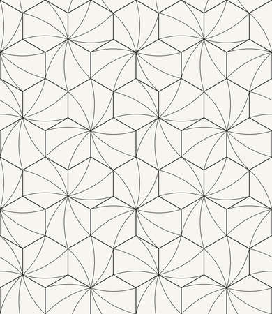 Vector seamless pattern - Modern stylish outlined geometric texture with structure of repeating hexagons with curved surface Ilustração