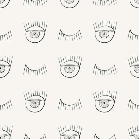 Hand drawn seamless pattern with symbols of open and closed eye. Modern stylish linear decorative ornament. Repeating background for fabric, wrapping paper or wallpaper. Isolated vector illustration.