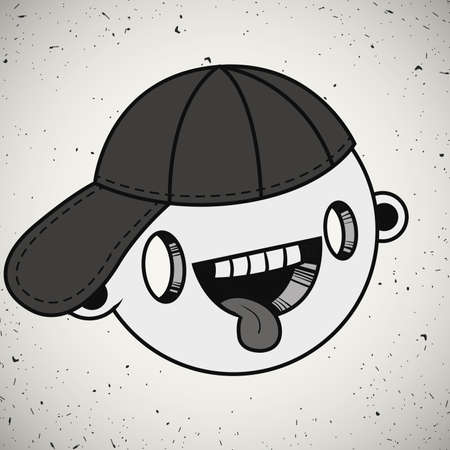 Vector illustration. Hand drawn smiling face of a funny looking boy with his tongue out in a cap. Ilustração