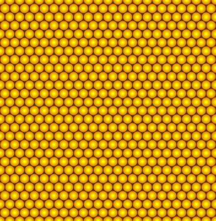 Abstract vector seamless pattern with structure of repeating yellow circles with volume effect.