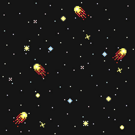 Fantastic starry sky in pixel art style vector seamless pattern.