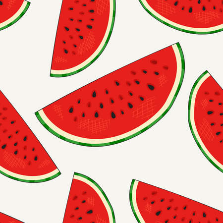 Hand drawn watermelon slices seamless pattern.