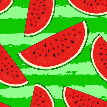 Hand drawn watermelon slices seamless pattern on striped background. Stock Illustratie
