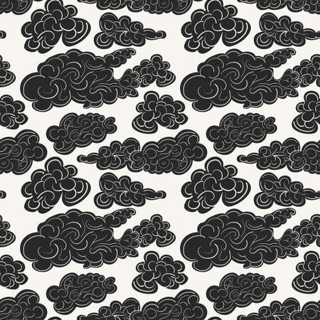 Hand drawn seamless pattern with black storm clouds. Modern stylish decorative background in trendy linear art style. Perfect for wallpapers, textile and interiors.