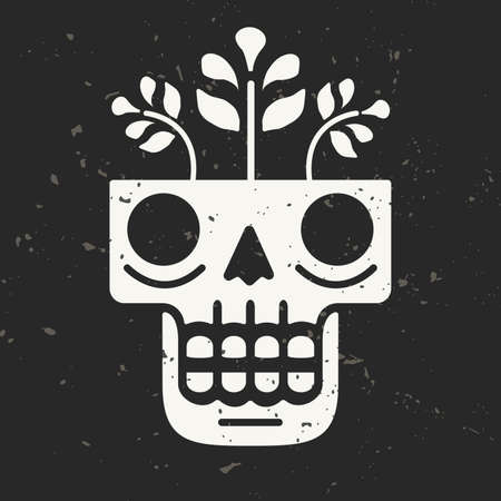 Hand drawn skull with flowers growing through it. Concept of eternal life. Modern illustration in traditional Mexican art style with grunge background. Perfect for prints, posters, textiles.