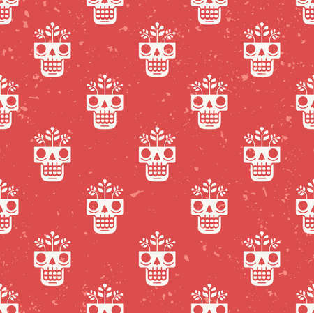 Hand drawn skull with flowers growing through it seamless pattern. Concept of eternal life illustration in traditional Mexican art style. Repeating modern red background for textile or wrapping paper. Ilustração