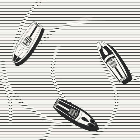 speedboats: seamless pattern. Hand drawn speedboats in the sea - monochrome repeating background for fabric, wallpapers and prints.