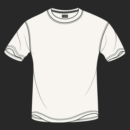 Hand drawn illustration of blank white t-shirt on black background. Modern detailed background is perfect for placing your own prints and artwork on it.