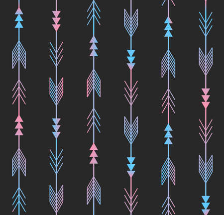 seamless pattern. Arrows from traditional Mexican Aztec culture in trendy outlined style. Modern colorful repeating background for textile, wrapping paper or wallpaper.