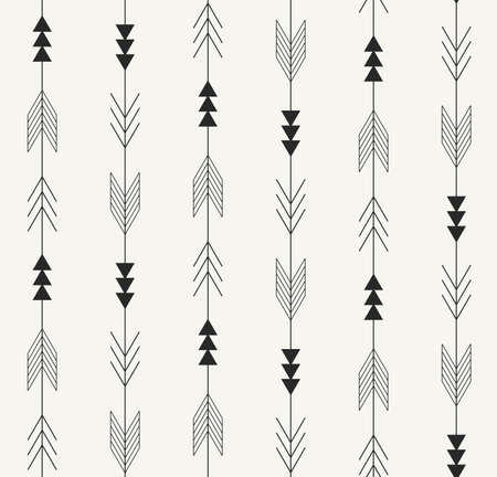 seamless pattern. Arrows from traditional Mexican Aztec culture in trendy outlined style. Modern monochrome repeating background for textile, wrapping paper or wallpaper.