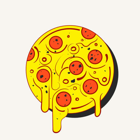 diet cartoon: Hand drawn hot full circle of tasty pizza on white background. Modern fast food stylish or eating icon. Illustration