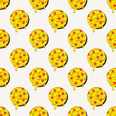 Hand drawn tasty pizza circles seamless pattern. Modern stylish repeating fast food service elements background Ilustração