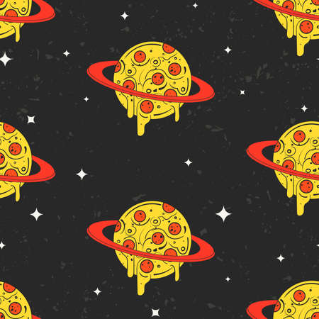 Hand drawn vector seamless pattern. Funny illustration of pizza-looking planets in space. Modern fast food stylish repeating background. Isolated vector illustration, perfect for wallpapers or textile Ilustração