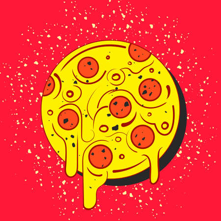 Hand drawn hot full circle of tasty pizza on red background. Modern fast food stylish. Isolated illustration. Ilustração