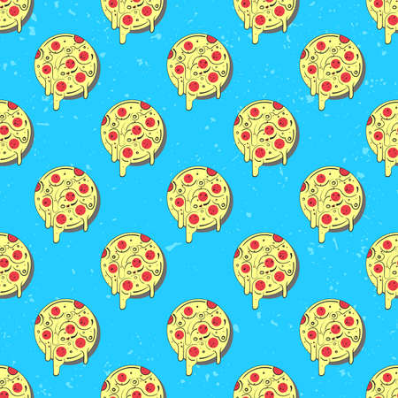 Hand drawn tasty pizza circles seamless pattern. Modern stylish repeating fast food service elements background. Isolated illustration on blue background.