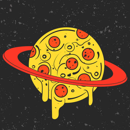 Hand drawn funny illustration of pizza-looking planet in space. Modern fast food stylish or eating icon. Isolated illustration, perfect for print, posters, t-shirts and textile. Ilustração