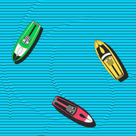 speedboats: Hand drawn colorful seamless pattern with speedboats floating in the sea. Modern stylish repeating decorative background for wallpapers, fabric, wrapping paper or ceramics.
