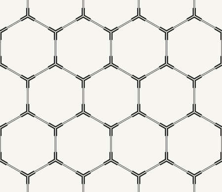 Vector seamless pattern. Modern stylish monochrome technological background with structure of repeating hexagons with hi-tech frames.