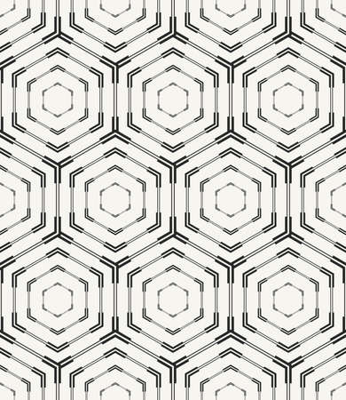 Vector seamless pattern. Modern stylish monochrome geometric texture with structure of repeating hexagons. Technological background for web, prints or wrapping paper. Ilustração