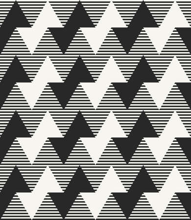 Modern monochrome geometric texture with horizontal zigzag lines and striped background. Vector seamless pattern.