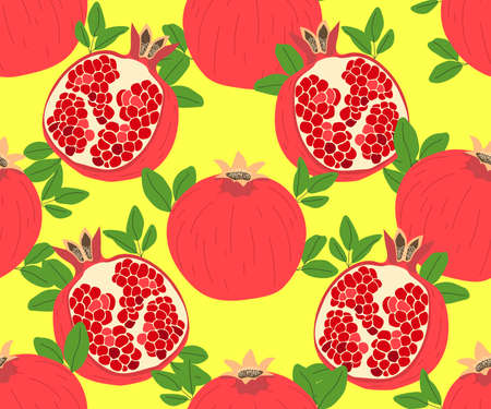 Modern stylish hand drawn summer background for textile with structure of repeating pomegranates. Vector seamless pattern. Ilustração